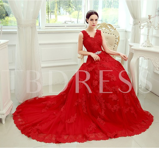 Red V-Neck Lace-Up Court Train Lace Wedding Dress