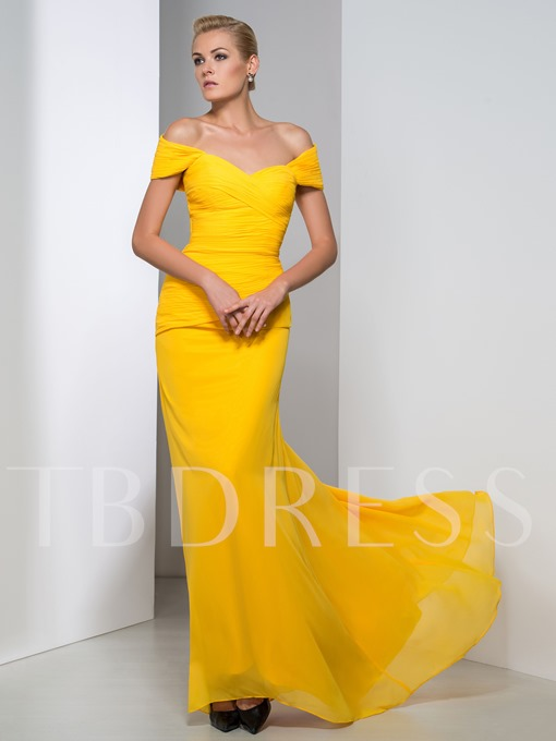Sheath Off-the-Shoulder Ruched Sweep Train Evening Dress