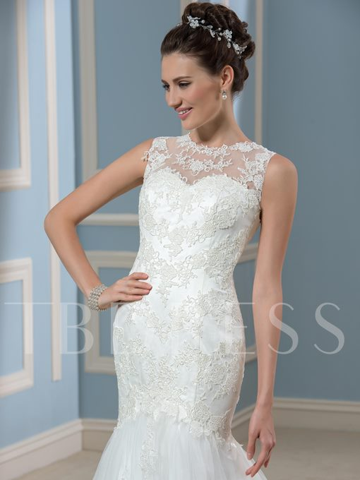 White Lace Court Floor-Length Trumpet/Mermaid Wedding Dress