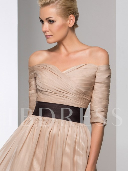 A-Line Off-the-Shoulder Ruched Belt Floor-Length Evening Dress
