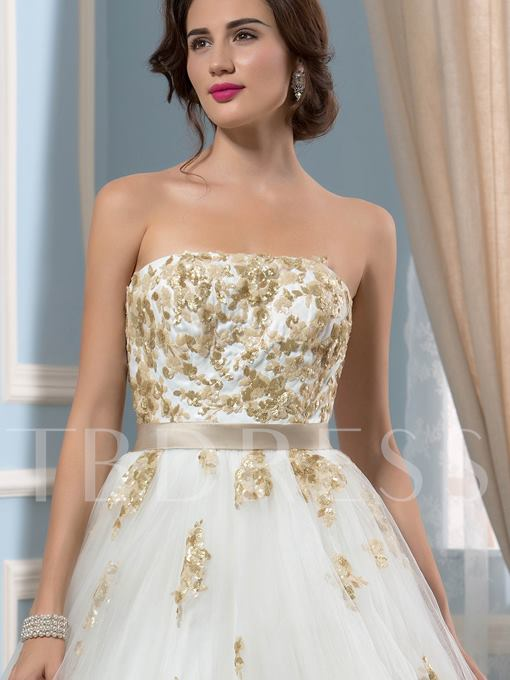 Strapless Sequined Appliques Wedding Dress