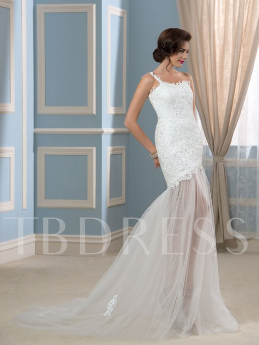 Sexy Lace Tulle One-Shoulder Trumpet Beach Wedding Dress