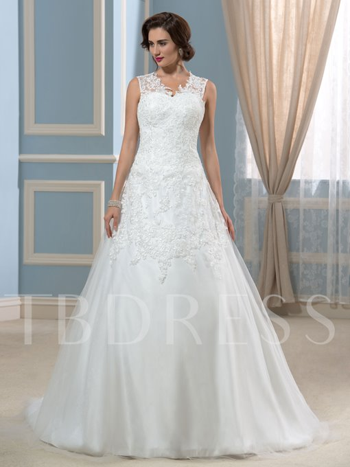 Modest A-Line Court Train Sleeveless Buttons Lace Wedding Dress