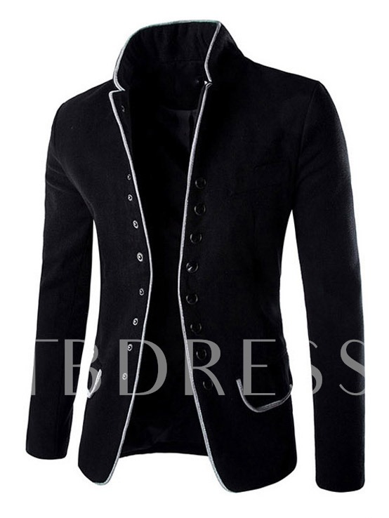 Buy Stand Collar Single-Breasted Woolen Slim Men's Blazer, Spring,Fall,Winter, 11442138 for $41.99 in TBDress store