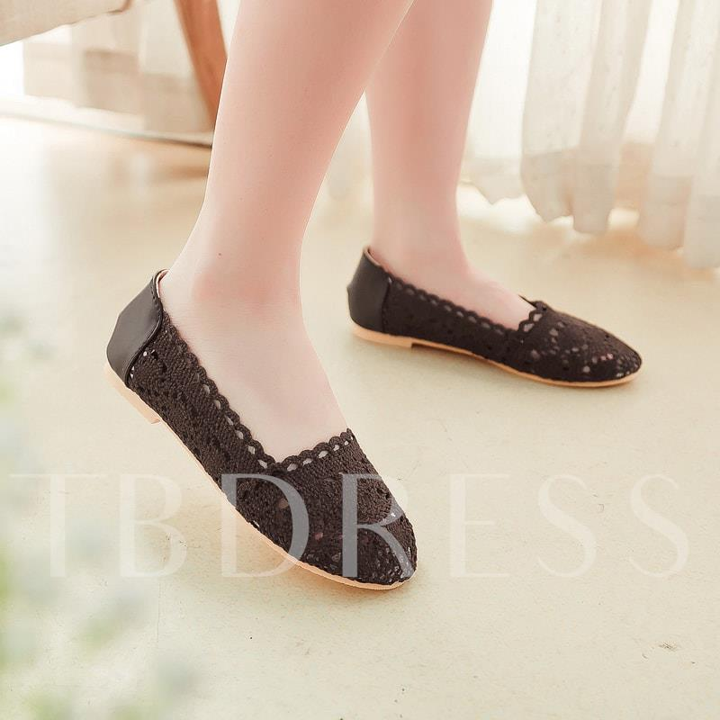 Lace Hollow Slip-On Round Toe Women's Flats