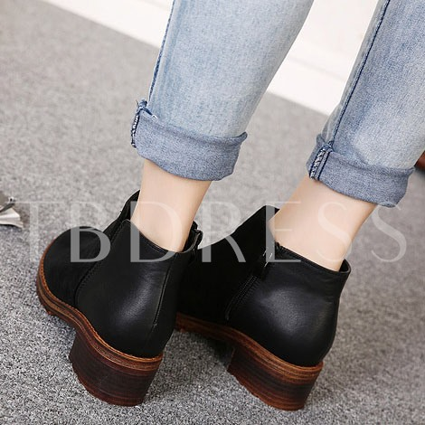 Square Heel Side Zipper Ankle Round Toe Women's Ankle Boots