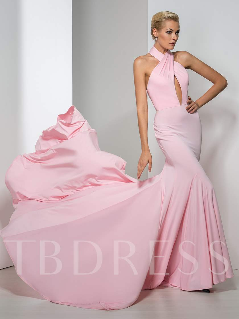 Mermaid Halter Backless Court Train Evening Dress
