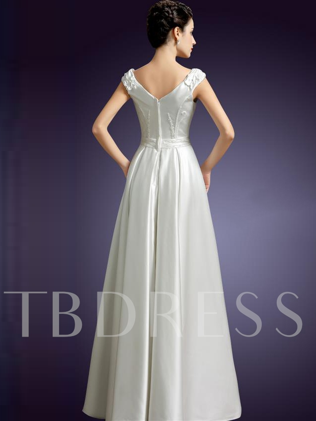 A-Line V-Neck Beading Belt Floor-Length Evening Dress
