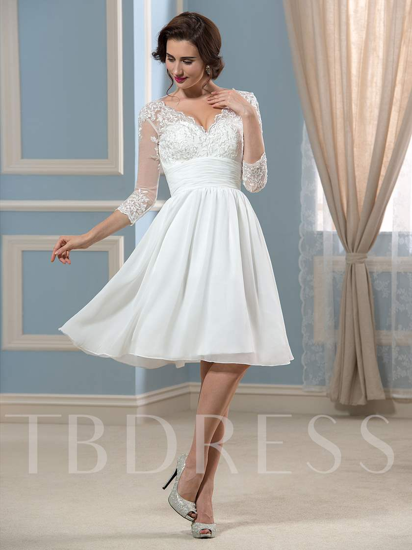 Lace 3/4 Length Sleeve Short Beach Wedding Dress
