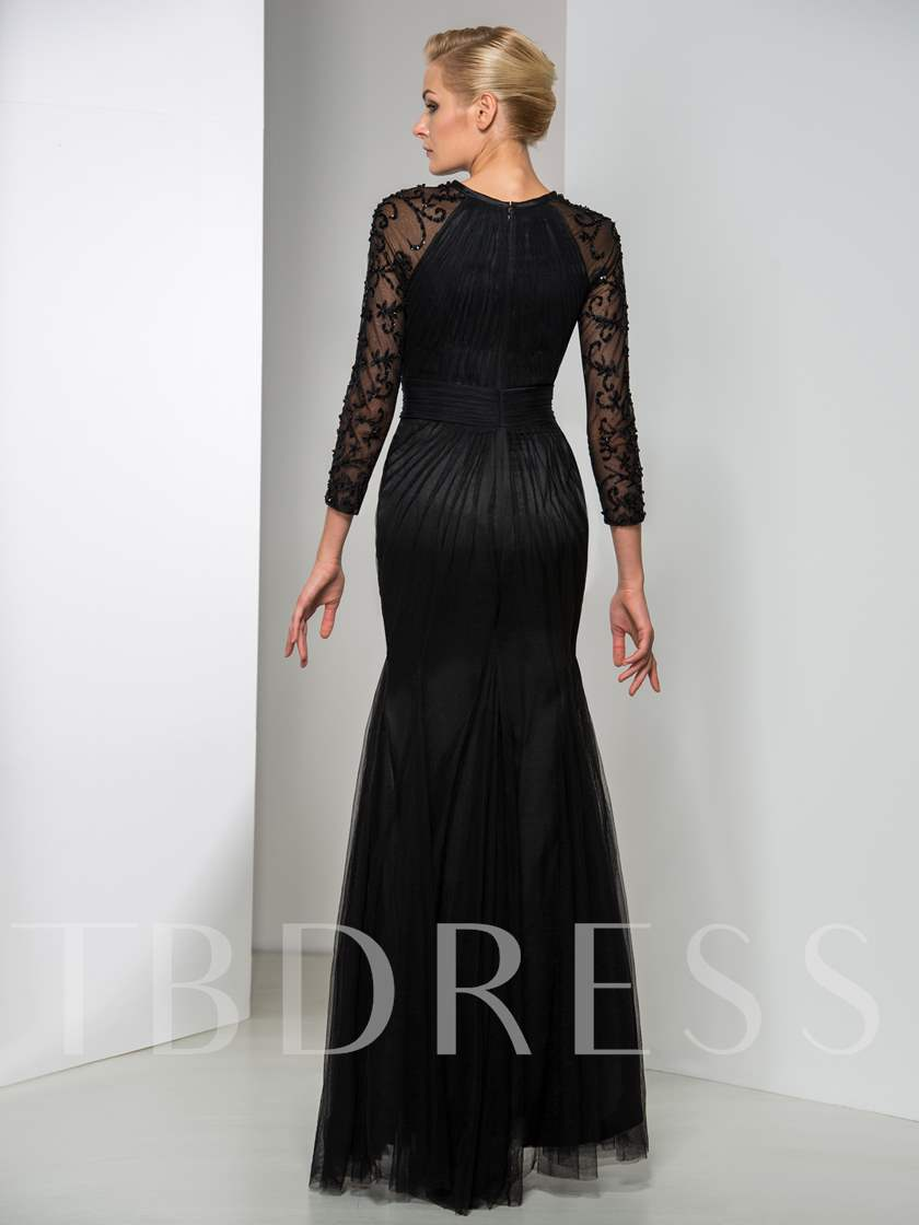 Jewel Neck Mermaid Long Sleeve Beaded Ruched Evening Dress