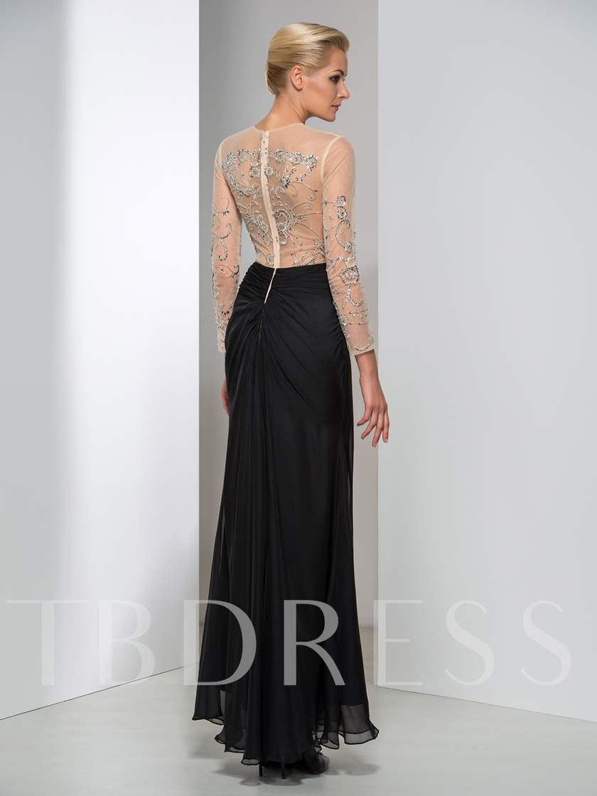 Jewel A-Line Beading Evening Dress