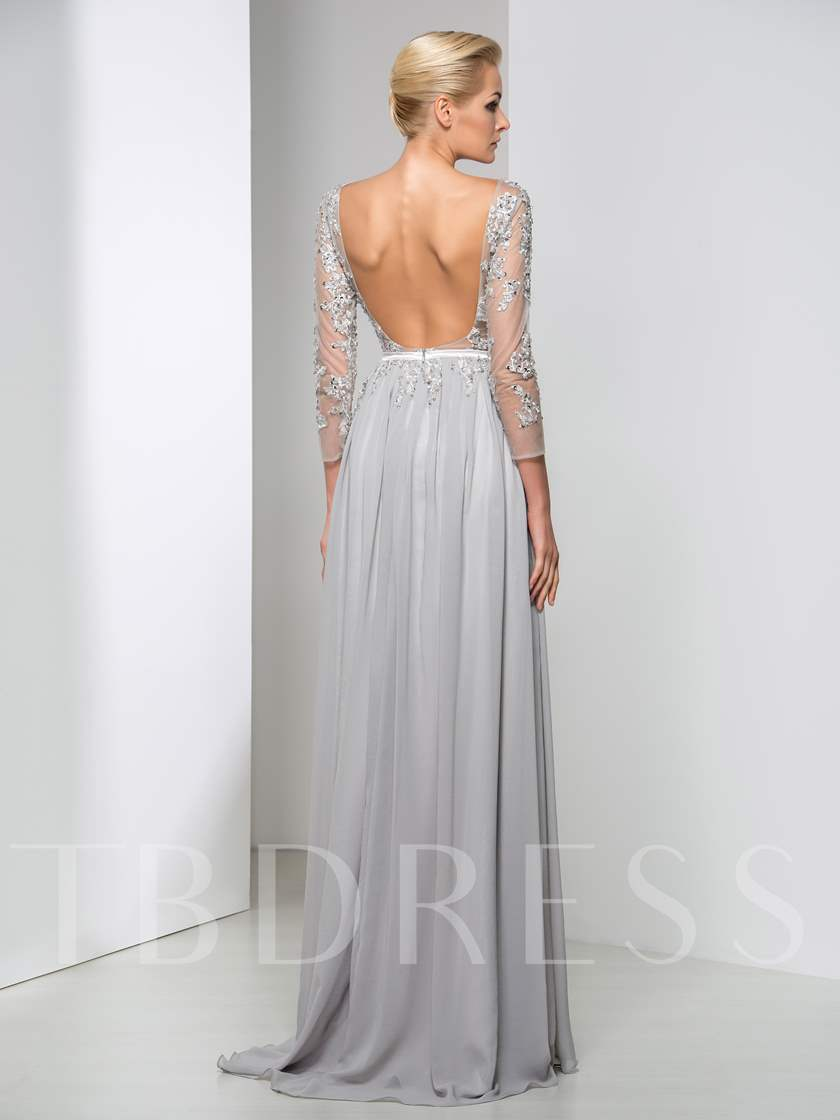 Round Neck Long Sleeve A-Line Appliques Beaded Backless Evening Dress