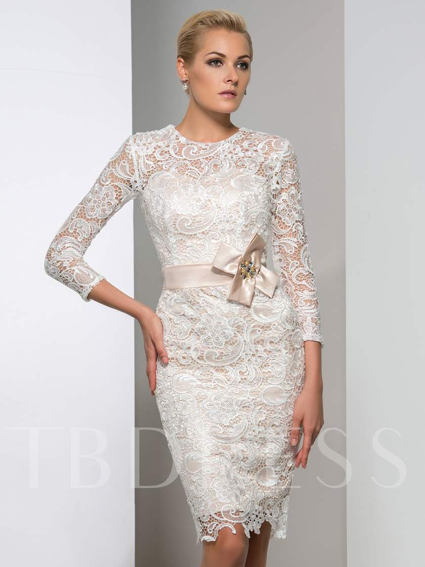 3/4 Length Sleeve Sheath Round Neck Lace Bow Knee-Length Cocktail Dress