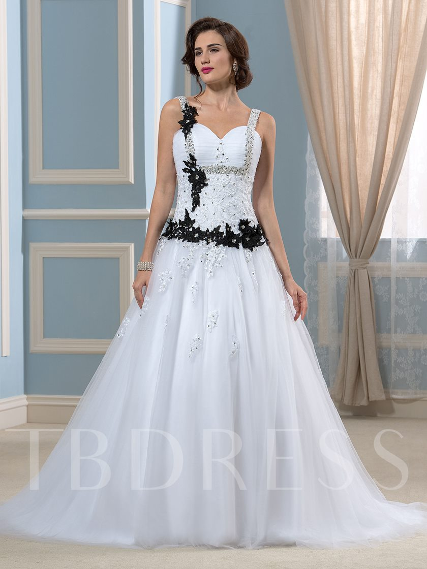 Spaghetti Straps Colored Bowknot A Line Beaded Lace Wedding Dress