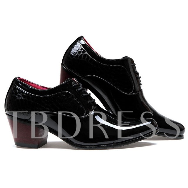 Pointed Toe Square Heel Men's Oxford