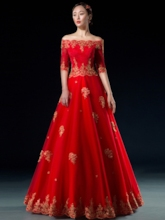 Off-the-Shoulder A-Line Embroidery Evening Dress