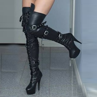 f6c1e459af9b Stiletto Heel Lace-Up Front Round Toe Over-the-Knee Womens Boots ...