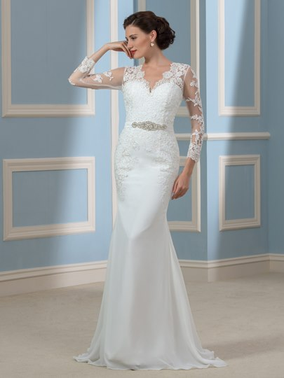 Chiffon V-Neck Long Sleeve Mermaid Lace Wedding Dress