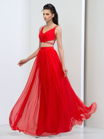 Straps A-Line Beading Criss-Crop Straps Prom Dress