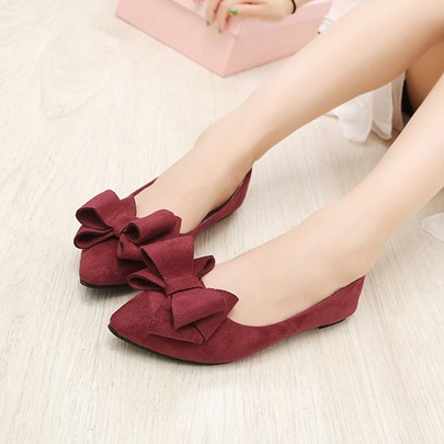 Slip-On Bowtie Pointed Toe Women's Flats