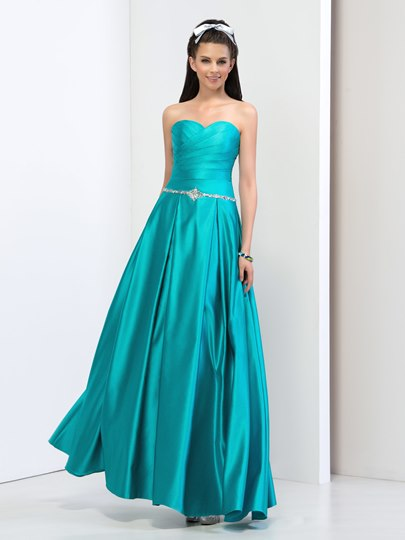 A-Line Sweetheart Ruched Rhinestone Prom Dress