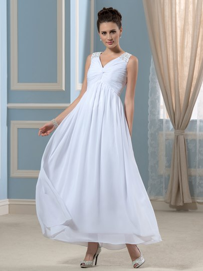 Empire Waist Beading Ankle-Length Beach Wedding Dress