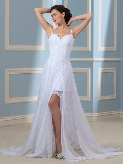 Backless Split-Front Lace Chiffon Spaghetti Straps Beach Wedding Dress
