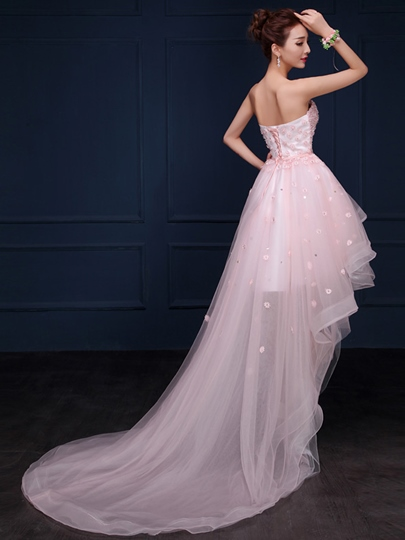 Sweetheart A-Line Beading Flowers Asymmetric Homecoming Dress