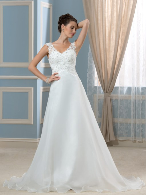 V-Neck Court Train Organza Satin A-Line Wedding Dress