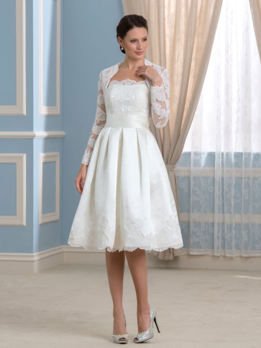 Strapless Satin Knee-Length Wedding Dress with Lace Long Sleeve Jacket