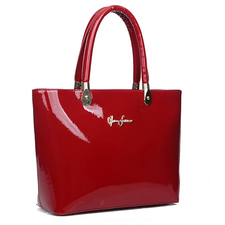 Solid Color Stitching PU Women Tote Bag