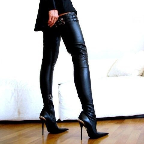 Side Zipper Hollow Stiletto Heel Pointed Toe Over-the-Knee Women's Fashion Boots