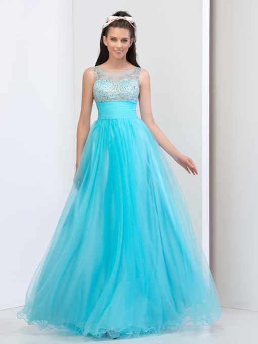 Bateau Neck Ruched A-Line Beading Floor-Length Prom Dress