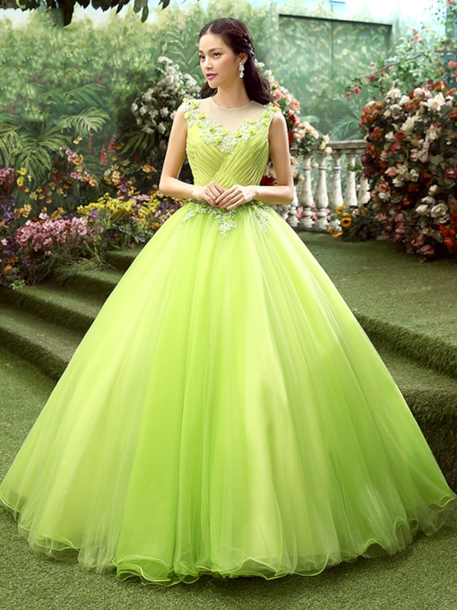 Sheer Neck Ball Gown Flowers Appliques Quinceanera Dress