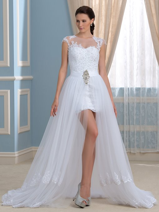 Cap Sleeves Appliques Sequins Beach Wedding Dress