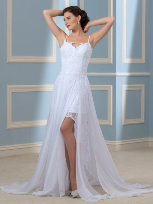 Split-Front Lace Spaghetti Straps Beach Wedding Dress