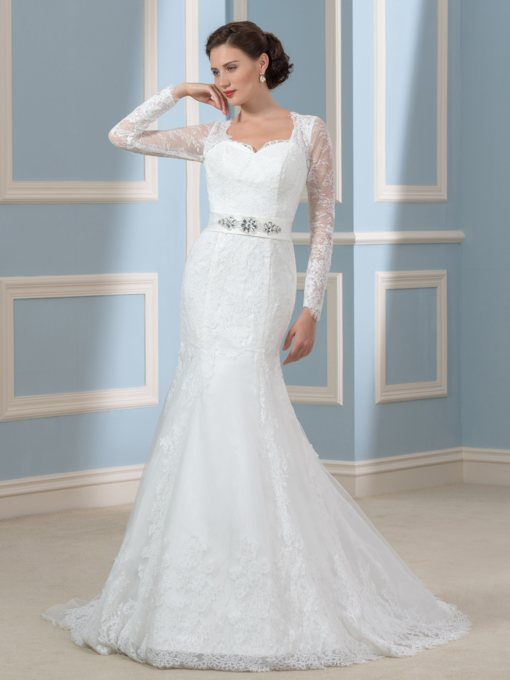 Long Sleeve Beading Lace Mermaid Wedding Dress