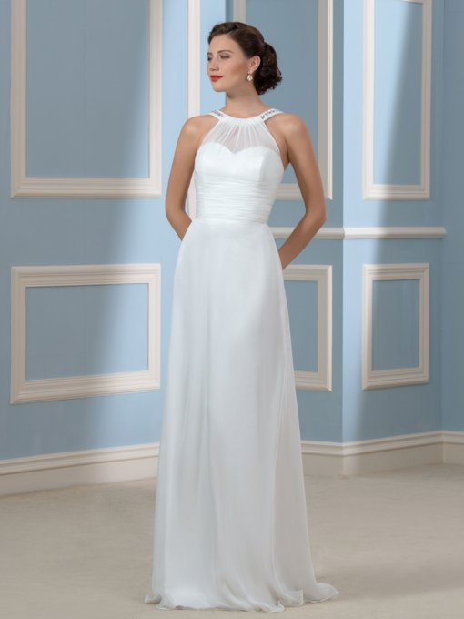 A-Line Floor-Length Beach Wedding Dress