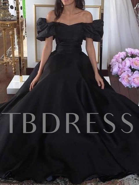 Image of A-Line Off-the-Shoulder Ruffles Sweep Train Evening Dress