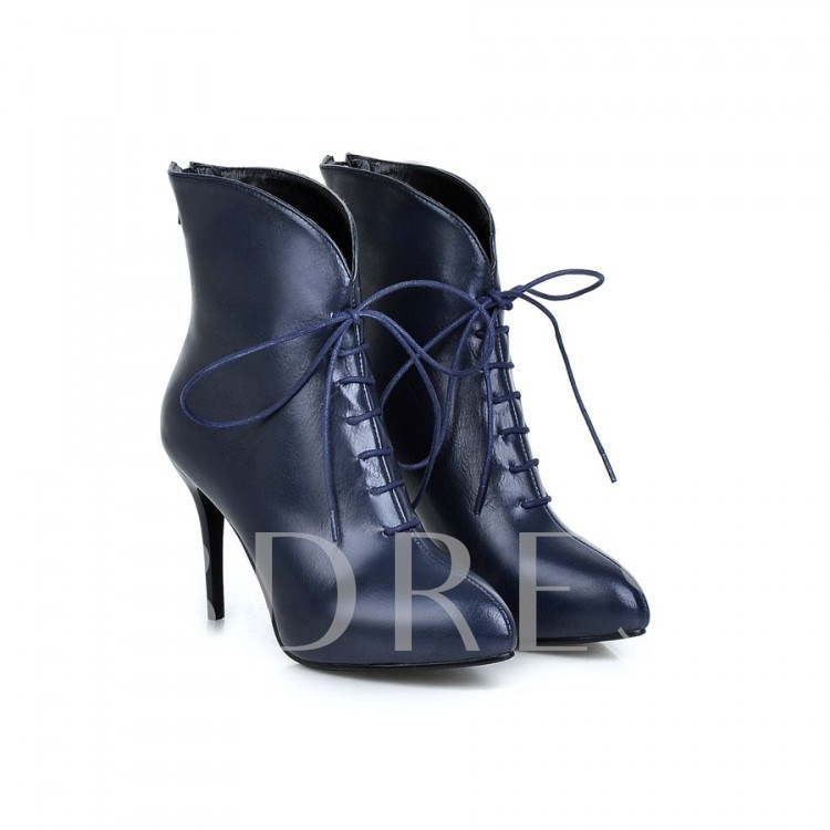 Lace-Up Front Back Zipper Pointed Toe Women's Ankle Boots