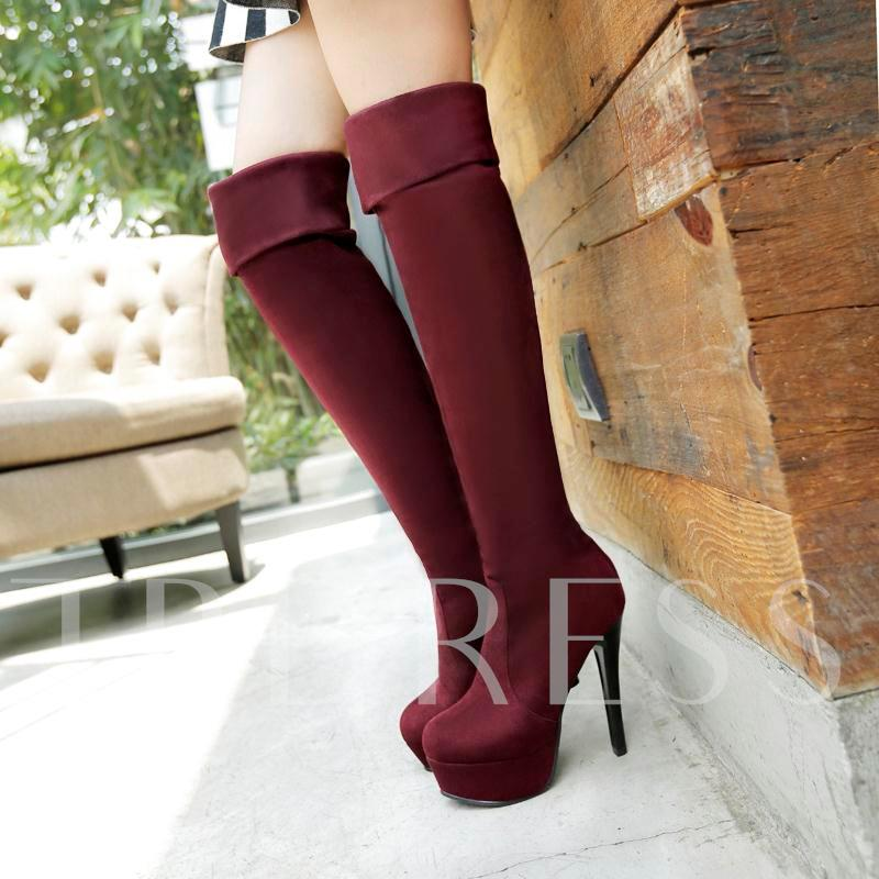 Platform Stiletto Heel Round Toe Knee-High Women's Boots