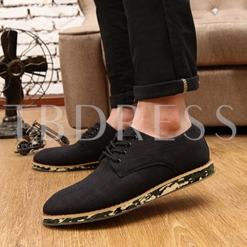 Slip-On Flat Heel Lace-Up Front Men's Loafers