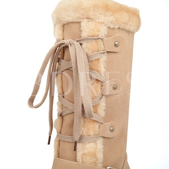 Short Floss Round Toe Buckle Women's Ankle Snow Boots