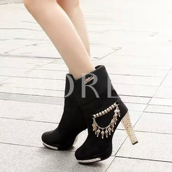 Chain Chunky Heel Slip-On Women's Ankle Boots