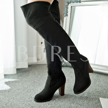Over-the-Knee Round Toe Chunky Heel Women's Boots