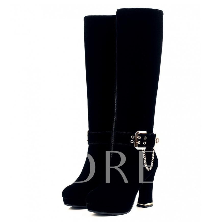 Chain Round Toe Side Zipper Knee-High Women's Boots
