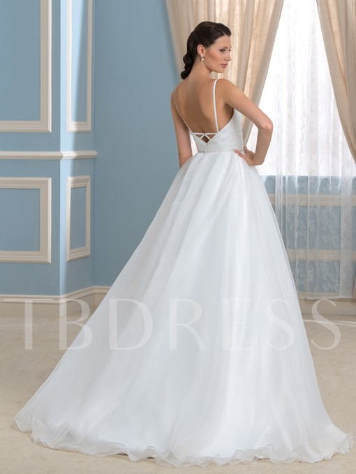 White Backless V-Neck Spaghetti Straps A-Line Wedding Dress