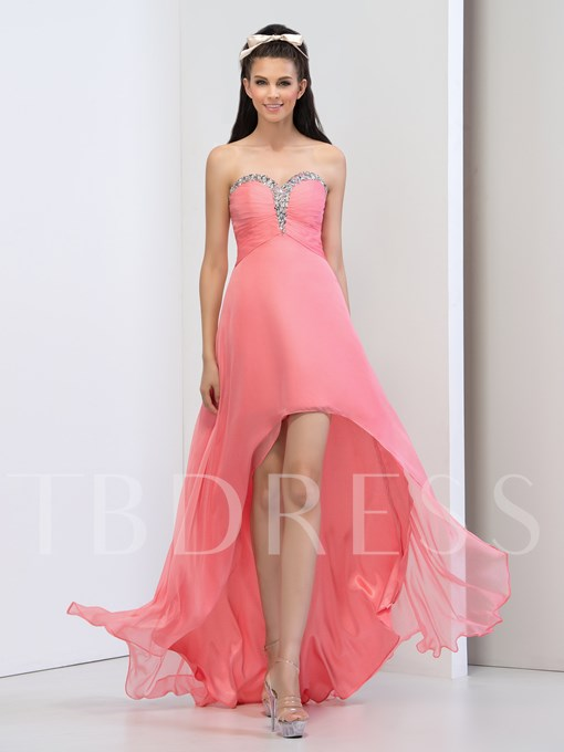 A-Line Sweetheart Beading Crystal Ruched Asymmetric Prom Dress