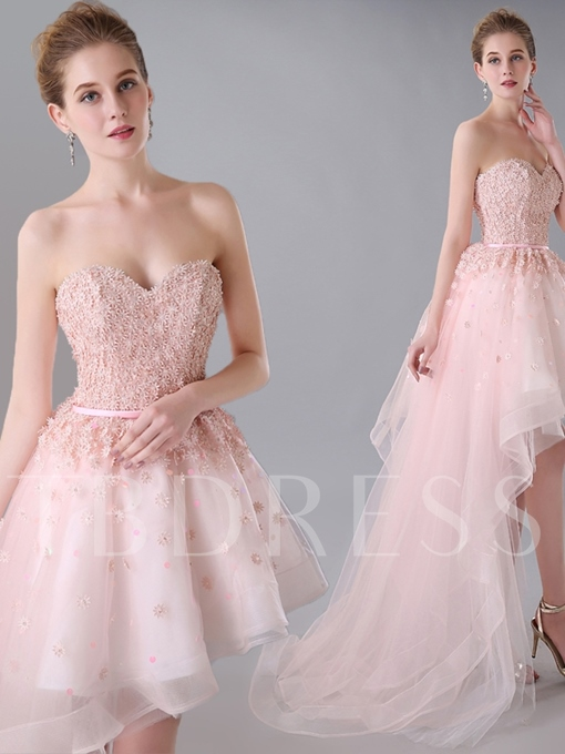 Sweetheart A-Line Appliques Sashes Asymmetry Homecoming Dress