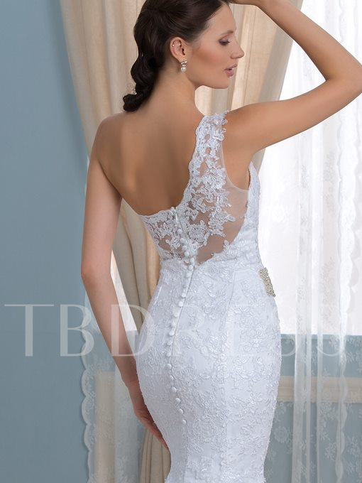 One-Shoulder Beading Belt Appliques Long Trumpet Wedding Dress
